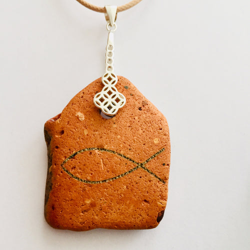 SILVER BELL ICHTHUS FISH CLAY NECKLACE