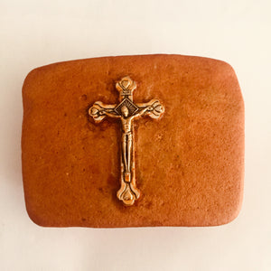 Christ in clay buckle