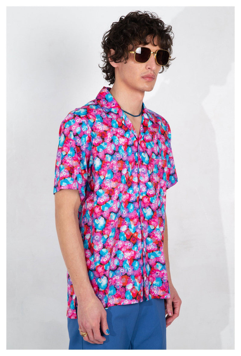 Desi Camp Collar Red Floral Dream Print Short Sleeve Shirt