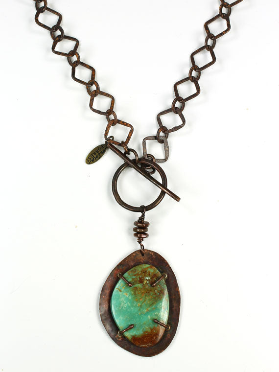 Copper chain front toggle turquoise pendant