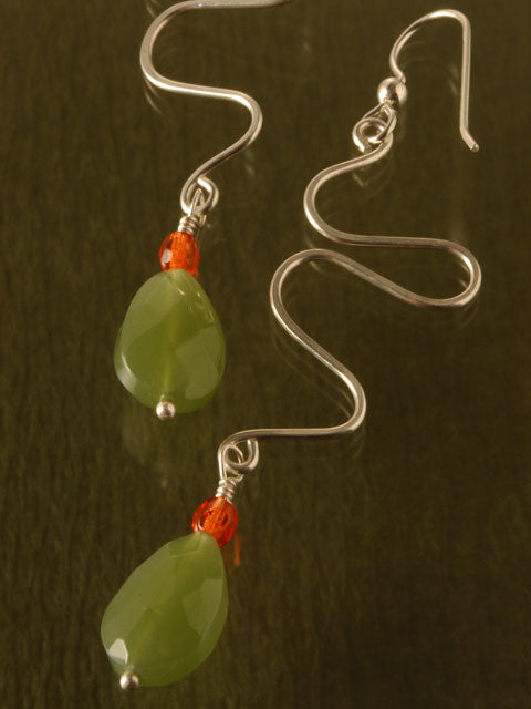 Wire squiggle with jade drop earrings