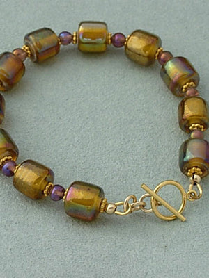 Brown rainbow crystal bracelet
