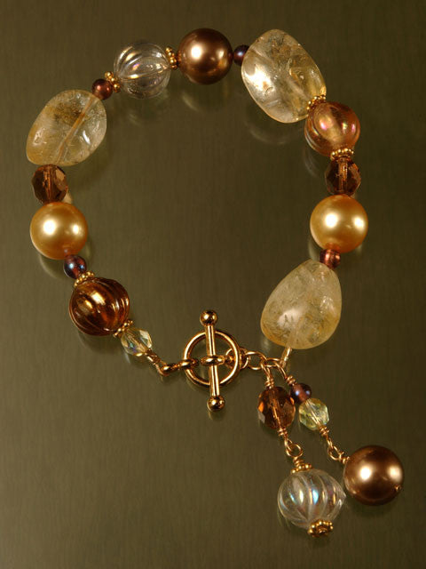 Citrine, crystal and pearl bracelet