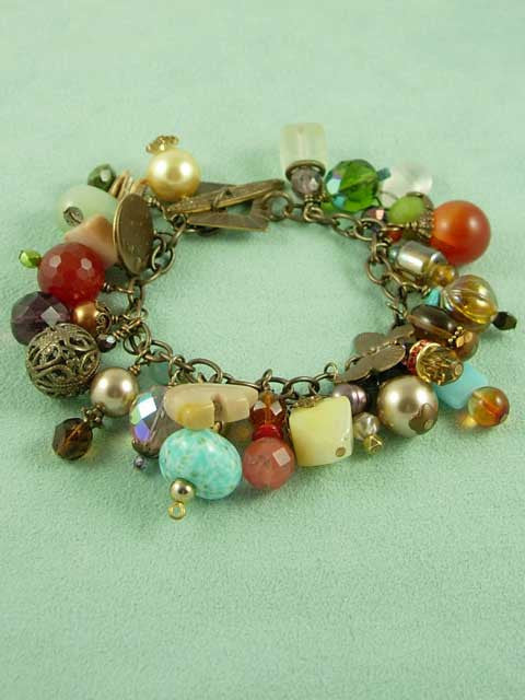 Brass and multi bead charm bracelet