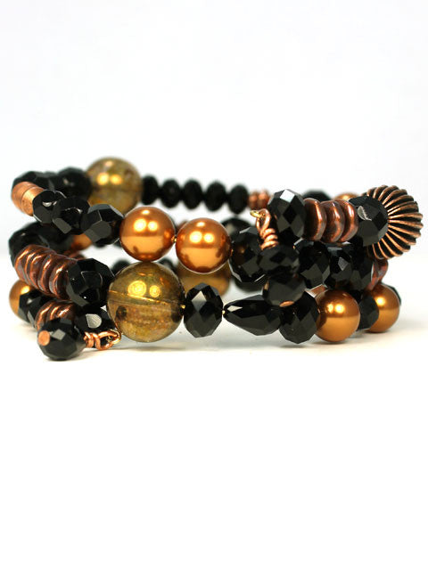 B015 Black and copper color coil bracelet