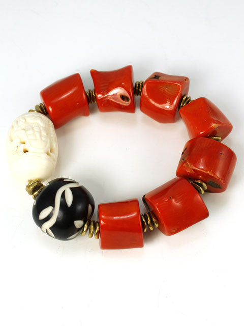 Chunky coral and bone bracelet