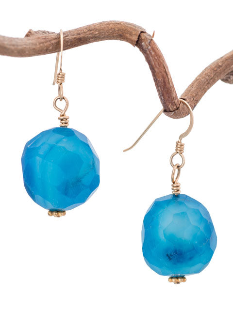 Faceted blue glass earrings