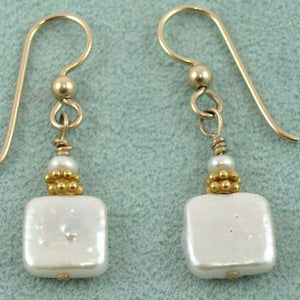 White pearls short dangle earrings