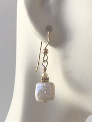 White square pearls earrings