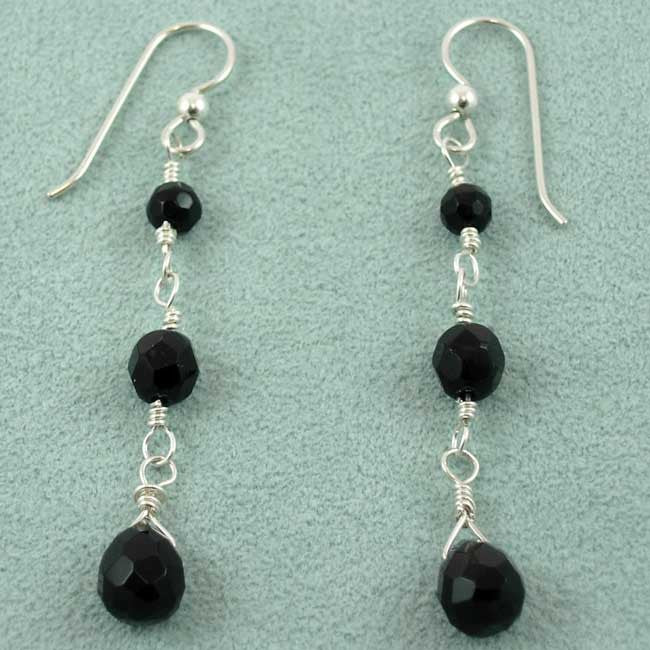 E013 Three black crystal dangle earrings