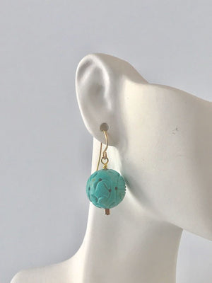 Carved turquoise and seed bead earrings