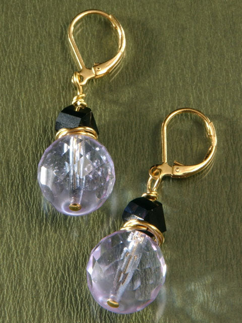 E038 Lilac and black crystal earrings