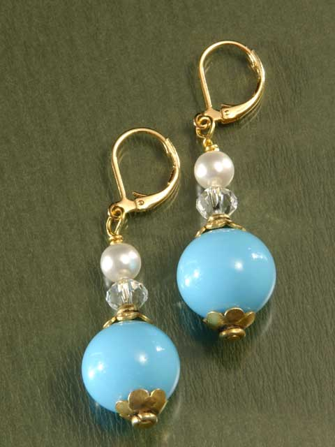 Blue, pearl and crystal bead earrings
