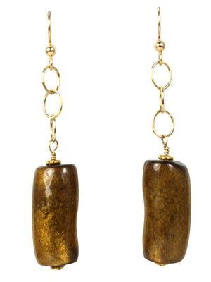 Gold coral dangle earrings