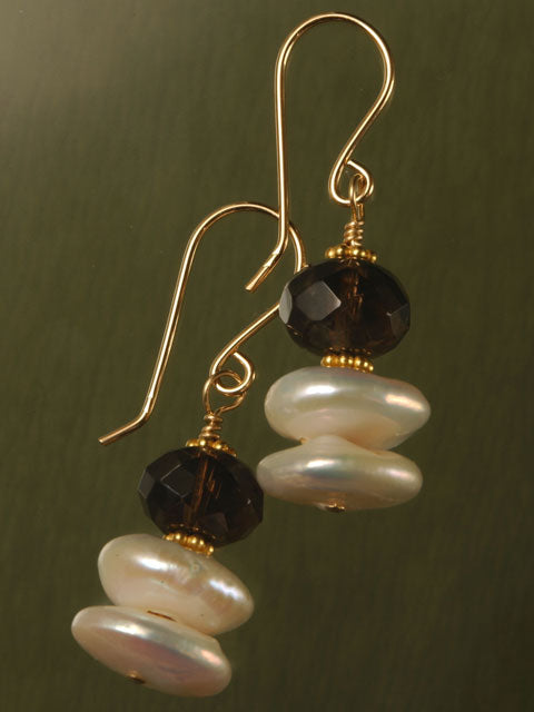 Smoky quartz and pearl with gold earrings