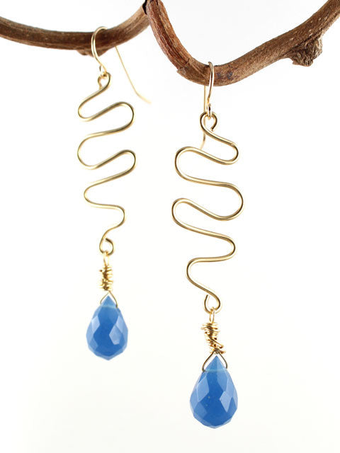 Wire squiggle with blue crystal drop earrings