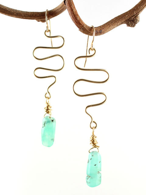 Wire squiggle green chrysoprase drop earrings