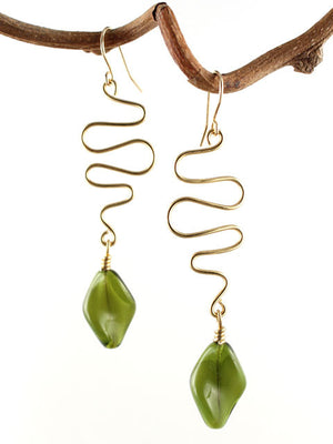 Wire squiggle with green crystal drop earrings
