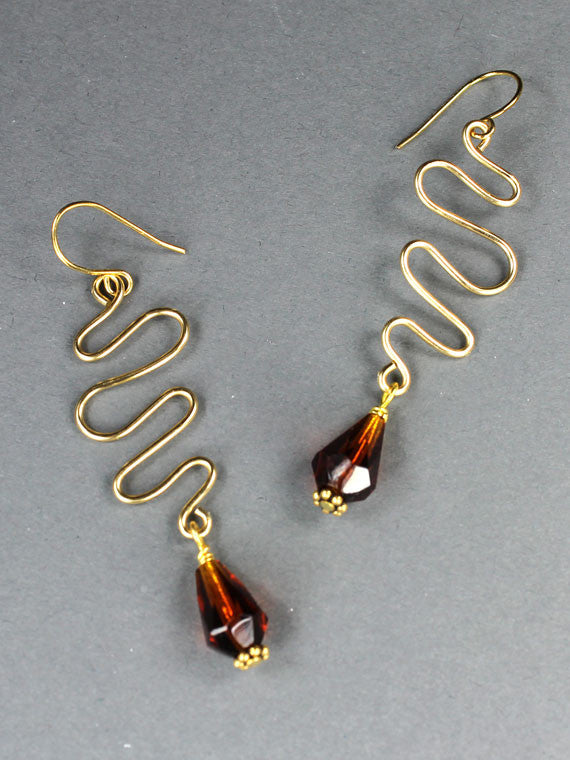Wire squiggle iridescent crystal earrings