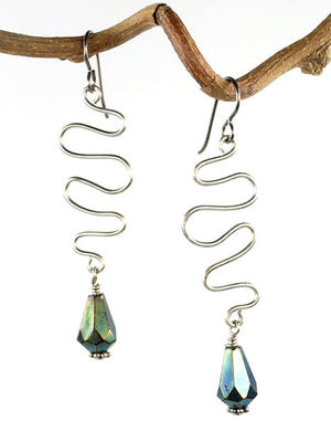 Wire squiggle iridescent green crystal earrings