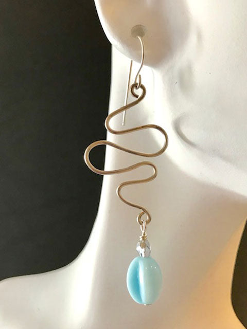 Wire squiggle light blue drop earrings