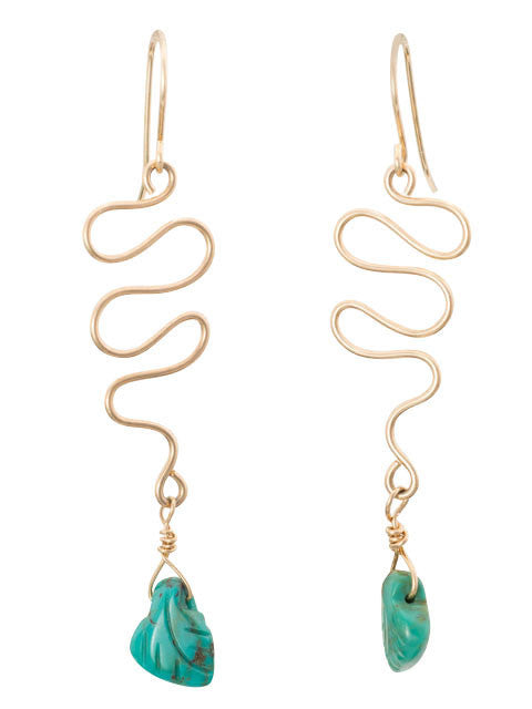Wire squiggle with turquoise leaf drop earrings