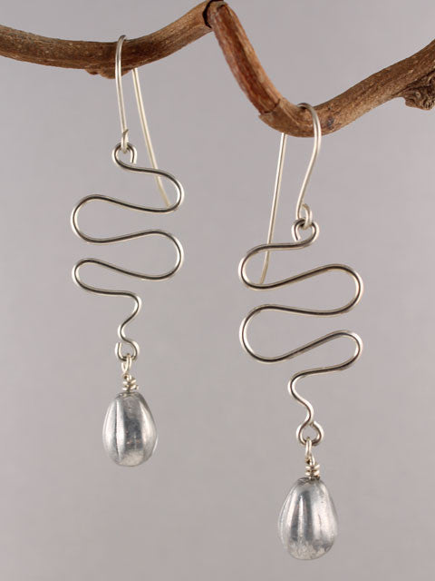 Wire squiggle grey crystal earrings