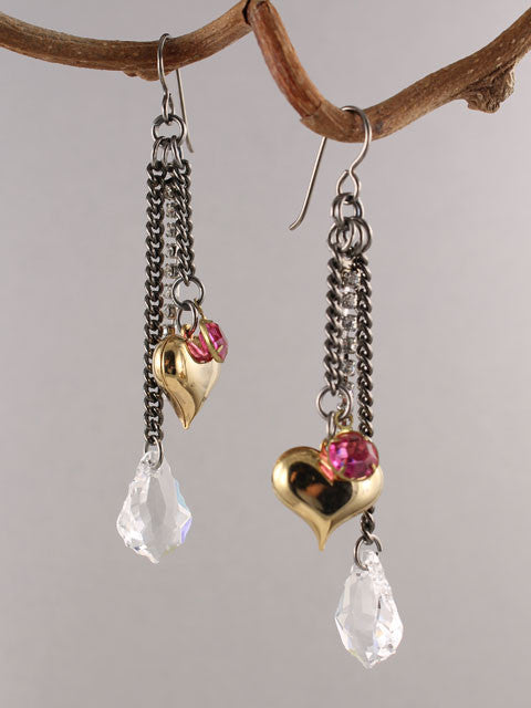 Gunmetal chain and charm earrings