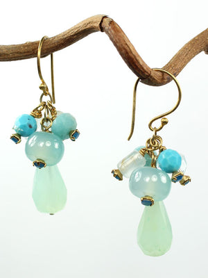 Shades of blue dangle earrings