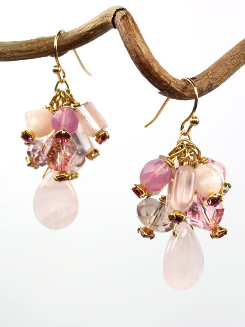Shades of pink dangle earrings