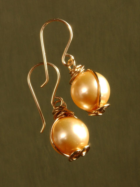 Wire wrapped gold crystal pearl earrings
