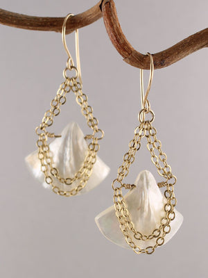 Mother of pearl fan and chain earrings