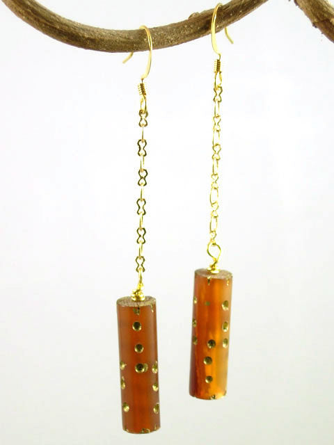 Gold flecked horn dangle earrings