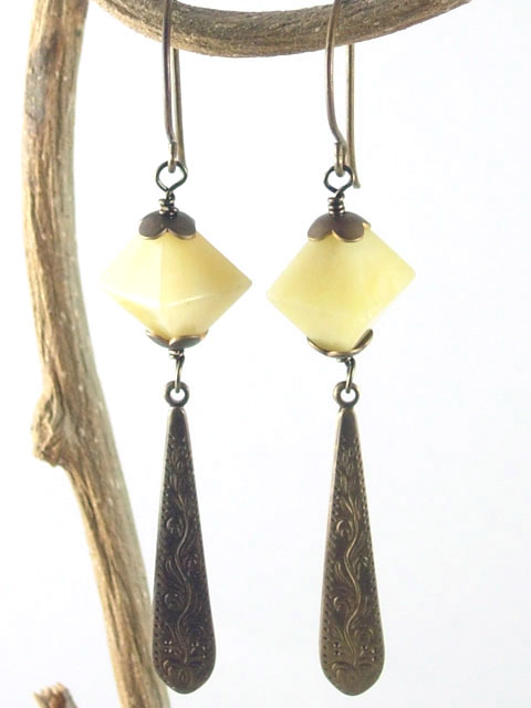 Yellow agate and brass dangle earrings