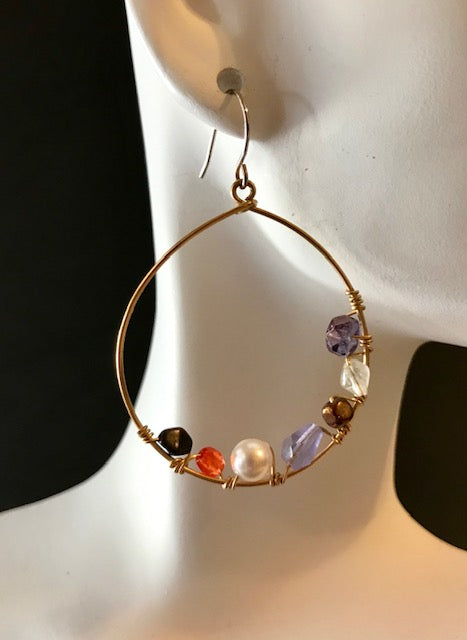 Wired gemstones and crystal hoops