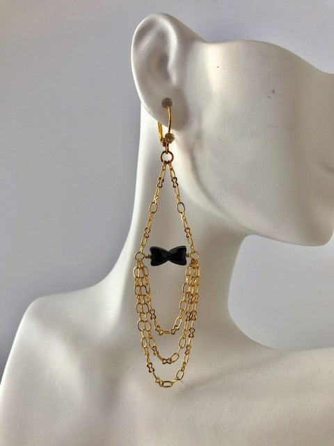 Black bowtie crystal bead earrings