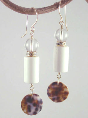 White lucite and shell earrings