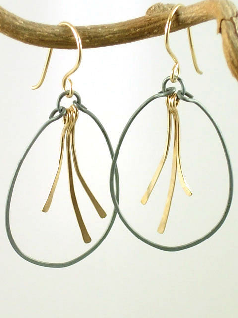 Oxidized hoop gold stick earrings