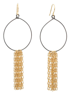 Oxidized silver hoop gold fringe earrings