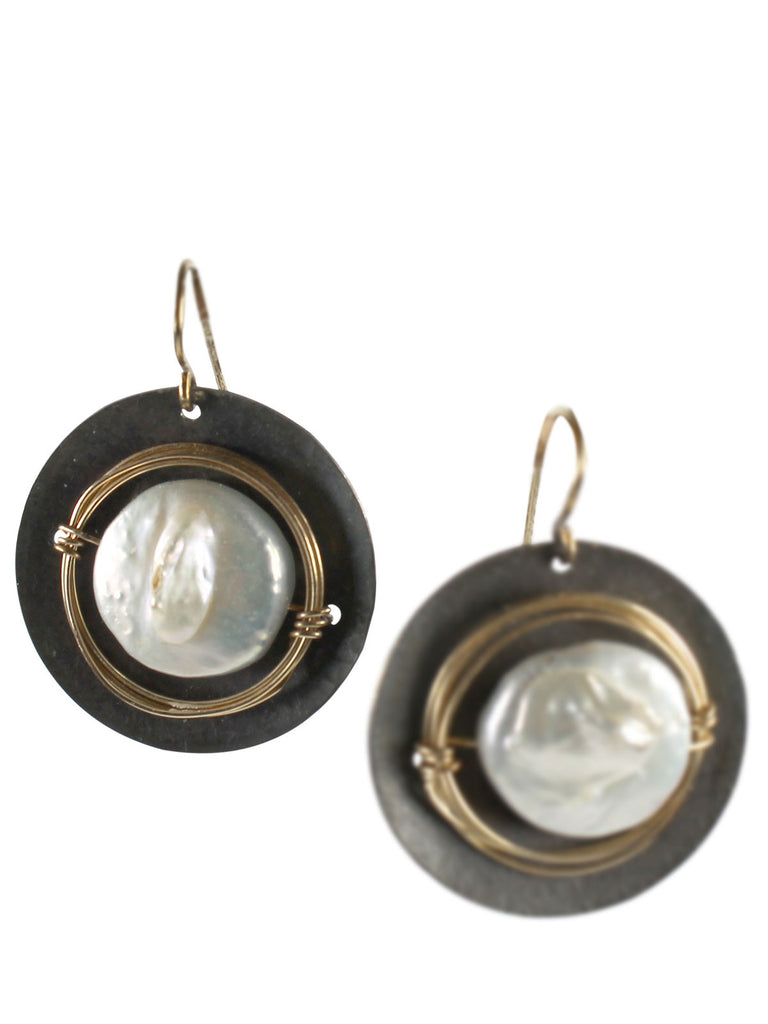 Wire wrapped nested pearl earrings