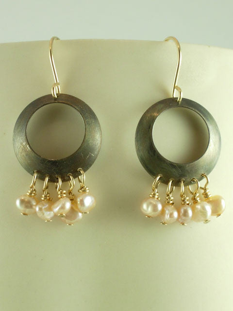 E146 Oxidized multi drop small pearl earrings