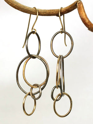 Oxidized silver and gold circle earrings