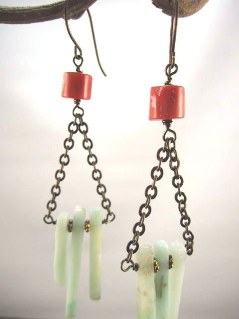 Coral and blue amazonite earrings