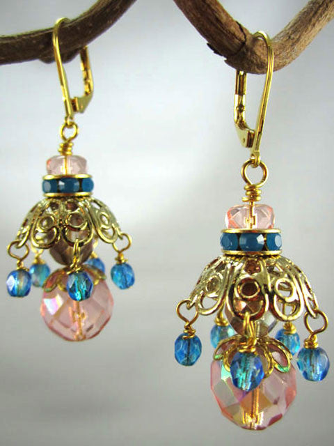 E174 Filigree bead caps, peach and blue crystal earrings