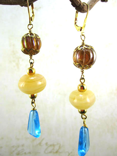 Czech glass and vintage bead earrings