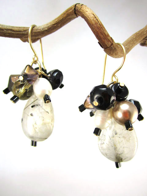 Black, grey and brown cluster drop earrings