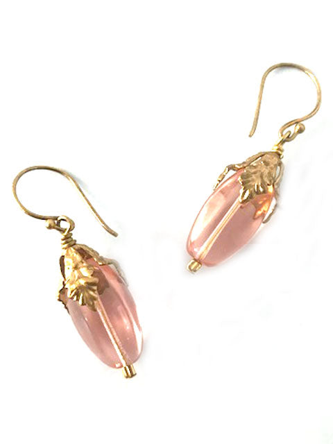 Peach Czech crystal earrings