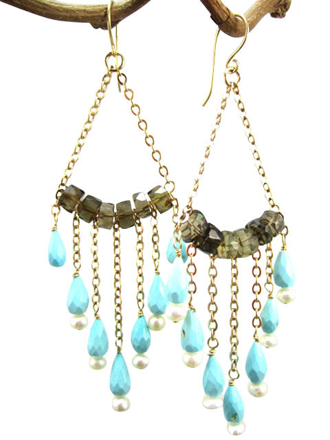 Smoky quartz and turquoise chain dangle earrings