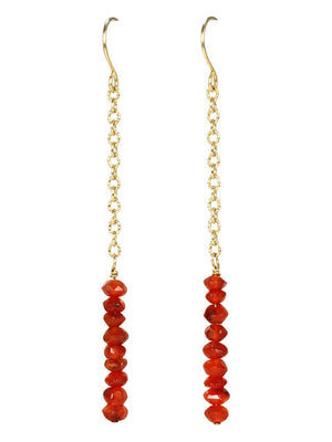 Stacked carnelian chain earrings