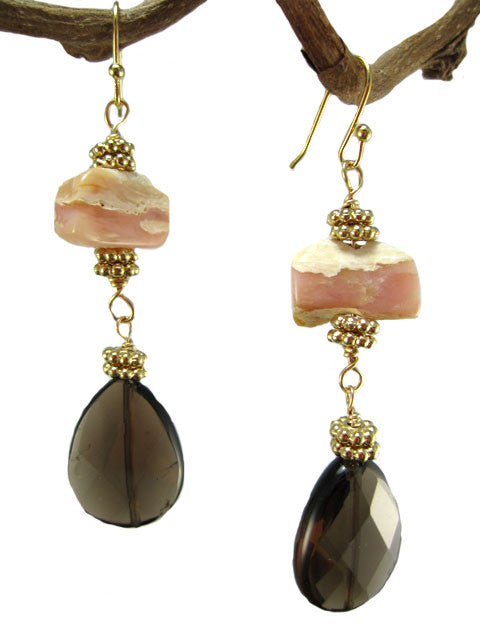 Pink opal and smoky quartz teardrop earrings